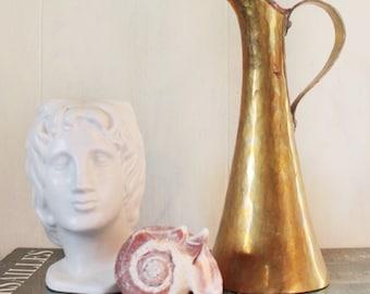 handmade brass vase - hammered metal pitcher - mixed metal bud vase