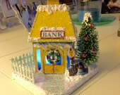 Bank Glitter House GlitterBitsie Putz House Christmas Village