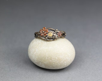 Twig ring - autumn flowers - hand sculpted bronze ring OOAK
