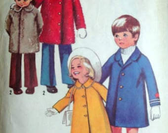 Vintage 70's Simplicity 9903 Sewing Pattern, Child's Winter And Spring Coats, Boys and Girls, Size 6x, 1970's Outerwear Pattern