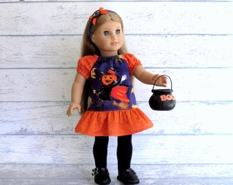 18 inch Doll Halloween Dress and M2M Headband, Pumpkin Witch Dress, Halloween Headband, Handmade to fit American Girl Doll