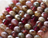 ROSE WATER .. 25 Premium Picasso Mix Czech Rondelle Beads 6x8-9mm (4406-st)