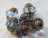 TWISTED SAPPHIRE .. 6 Picasso Czech Glass Turbine Beads 10x12mm (5008-6)