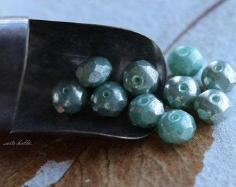 sale .. SEA FOAM MERCURY .. 10 Picasso Czech Rondelle Glass Beads 6x8mm (4905-10)