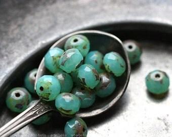 COASTAL PEBBLES .. 10 Picasso Czech Glass Rondelle Beads 6x4mm (4023-10)