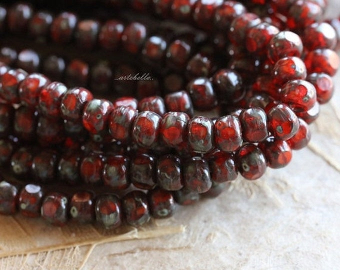 KOI SEEDS .. 50 Picasso Czech Glass Tri-Cut Seed Bead Size 6/0 (5350-st)