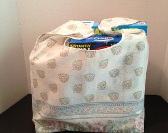 Reusable Market Tote / Grocery Bag / Created From  Repurposed Vintage  Fabrics / Shabby Chic / Machine Wash and Dry