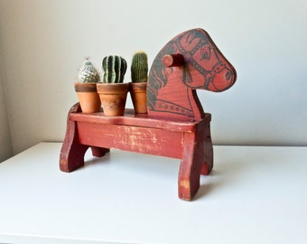 Children's Wood Horse Seat Chair, Red Toy Horse