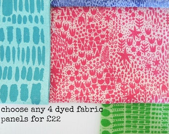 Handprinted fabric bundle - choose any 4 designs in any colour - dyed backgrounds