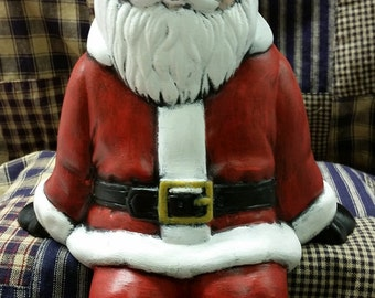 Hand Painted Ceramic Mantle Shelf Sitter Sitting Santa Claus Finished From Vintage Mold