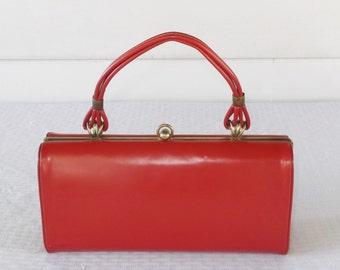 1950s Vintage Red Vinyl Handbag Box Purse