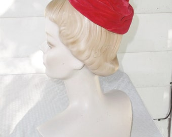 1960s Vintage Red Velvet with Feathers Mini Hat by Viola's Original