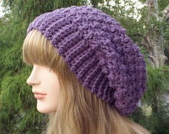 Iris Purple Crochet Hat, Womens Slouchy Beanie, Slouchy Hat, Oversized Slouch Beanie, Chunky Hat, Winter Hat, Slouch Hat, Baggy Beanie
