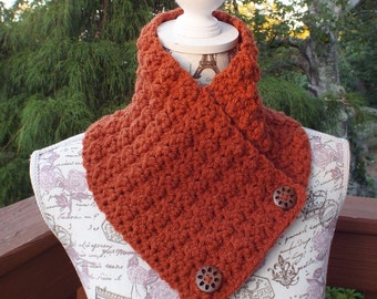 Pumpkin Orange Neck Warmer, Womens Cowl with Buttons, Ladies Crochet Scarf, Winter Scarflette, Winter Accessories, Chunky Cowl, Gift for Her