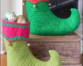 Elf Christmas Loot Boot PDF sewing epattern - create a stocking that stands alone; set on mantle or use as holiday centerpiece