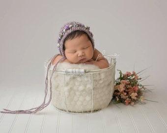 Baby hat, Knit Baby Bonnet, Floral Bonnet, Baby Photo Prop, Newborn Photo Prop, Newborn Baby Girl Hat, Knit Baby Hat, Rose bonnet