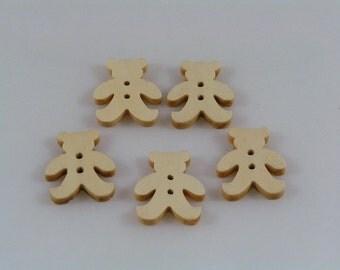 Wooden Buttons Teddy Bears 21mm diameter x 5 wood round fun cute button