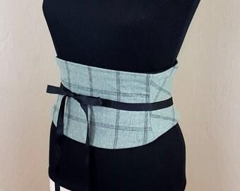 MInt Green and Black Plaid Obi Sash Corset Belt Waist Cincher Any Size