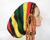 Crochet Large Rasta Sock Hat Tam for Long Dreads Dreadlocks Black Green Yellow Red