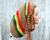Large Crochet Rasta Tam Hat for Long Dreads - Tan with Green Yellow Red Stripes - Dreadlocks Mega Tam Sock Hat