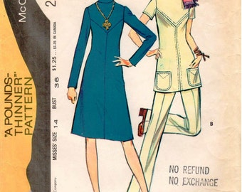 """Vintage McCall's """"Pounds Thinner"""" Pattern 2952 - Misses Dress or Tunic with Front and Back Yokes, and Pants with Back Zipper - Size 14"""