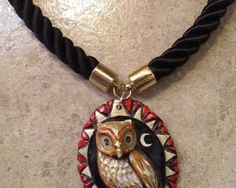 Crescent Owl Pendant