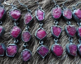 SEMI ANNUAL SALE Ruby dangle earrings | Raw ruby earrings | Ruby birthstone earrings | Gift for her | Ruby stone earrings | Rough ruby earri