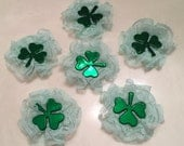 St. Patrick's Day, Lace Rosette Embellishments, Shamrocks, Scrapbook, Journal, Irish Folklore, Decorations, Craft Supplies
