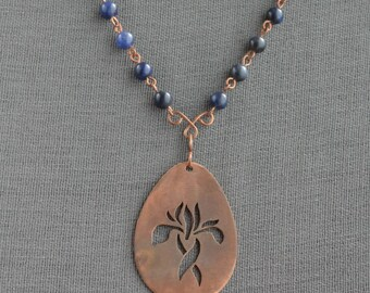 Iris necklace with sodalite beads