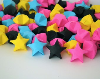 READY TO SHIP - 100 Origami Lucky Stars - Funky Party Colors