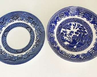 Vintage Blue and White saucers Blue Willow Old Willow Churchill England Swinnerton's Staffordshire Wedding Bridal Shower Tableware