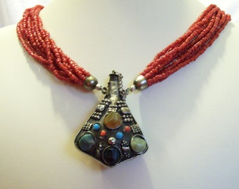 Delicate But Funky Chic Tibetan Silver Snuff Bottle Red Sea Coral Tribal Eccentric Vintage  Necklace