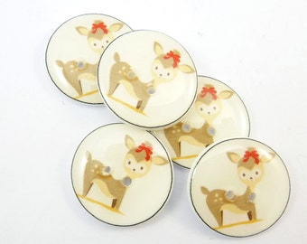 "5 Deer Buttons. Deer Sewing Buttons. 3/4"" or 20 mm."
