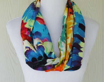 Floral Infinity Scarf, Vibrant Tropical Floral Scarf, Circle Scarf, Loop Scarf, Fashion Scarf, Necklace Scarves, Eclectasie