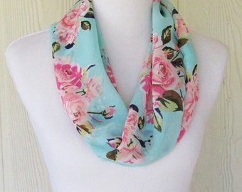 Pink Rose Infinity Scarf, Aqua Floral Scarf, Cottage Chic, Necklace Scarf, Women's Scarves, Eclectasie