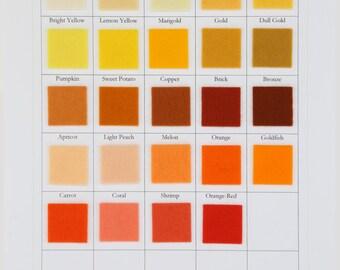 Wool Felt, CHOOSE SEVEN SHEETS, 8 x 12 Inch, 20 x 30cm, Yellow, Orange, Freesia, Melon, Ecru, 100% Wool