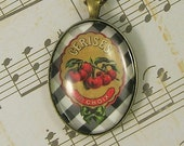 1st Choice Cherries Pendant/Necklace Antiqued Brass French