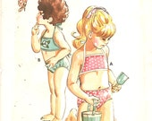 Kwik Sew 645  1970s Toddlers Childs Lined Bikini Swimsuit Pattern Square Neck Girls Vintage Sewing Pattern Size 2 4 6  Breast 22 23 15 UNCUT