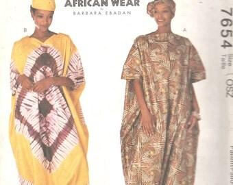 McCalls 7654 Misses  African Wear JUMPSUIT Hat Headwrap Pattern BARBARAICHA  Womens Sewing Pattern Size One Size Fits All  UNCUT