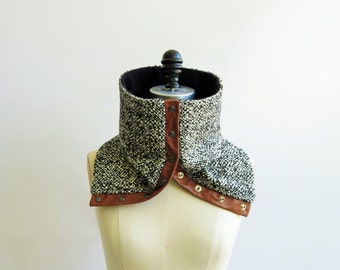 Cowl, scarf cream and charcoal wool