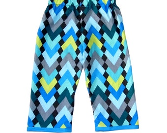 Peridot - Geometric - Modern - Chevron Pants - Blue Pants - Cotton Pants - Girl Pants - Toddler Pants - Boy Pants  -2t - 3t - 4t - 5t