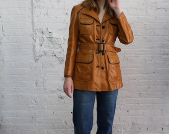 70s leather jacket / 1970s camel leather jacket / button down caramel leather belted jacket