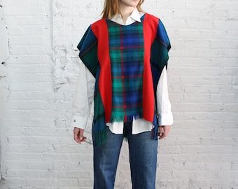recycled wool poncho / 70s plaid poncho / upcycled vintage recycled eco sustainable slow fashion
