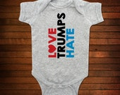 Love Trumps Hate One Piece Bodysuit - Funny Baby Gift