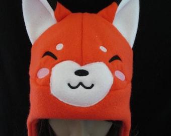 Fox Fleece Hat Orange Happy