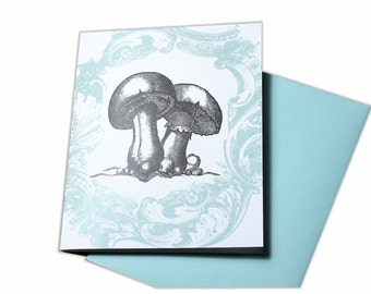 Blank Greeting Card with Mushrooms and Aqua Vintage Frame