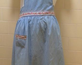 Vintage Full Bib Apron Blue & White Gingham Checks