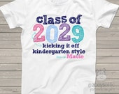 Kindergarten shirt Back to school shirt -  class of 2029 or any year colorful personalized school Tshirt  PINK/PURPLE/NAVY
