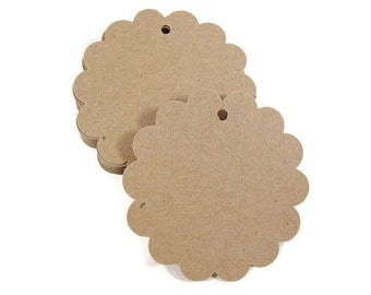 "Kraft Paper Tags Hand Punched with Scallop Design for Gift Wrapping in Size 2.25"", Set of 50"