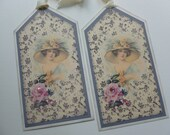 Gift tags bookmarks lady with hat vintage inspired pink roses grey and cream wallpaper print mothers day gift - set of 4